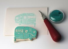 Carve your own vintage caravan stamp!!!    .........Hand carved stamps by Vitamini