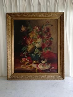 Check out this item in my Etsy shop https://www.etsy.com/listing/587127776/antique-french-oil-flower-painting-on