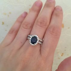 Oval Sapphire Engagement Ring and Bezel Scalloped by LaMoreDesign