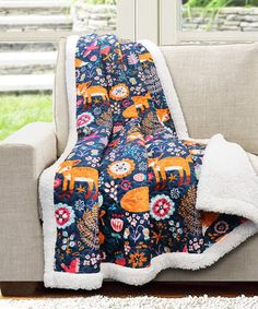 Look at this #zulilyfind! Navy Pixie Fox Sherpa-Lined Quilted Throw #zulilyfinds