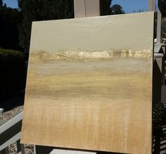 Golden Landscape-Abstract, Mixed Media Painting With Gold Leaf on Panel 16 - Abstract - Art Gold Leaf Art, Gold Art, Art Feuille D'or, Acrylic Artwork, Painted Leaves, Art Graphique, Mixed Media Painting, La Jolla, Abstract Canvas