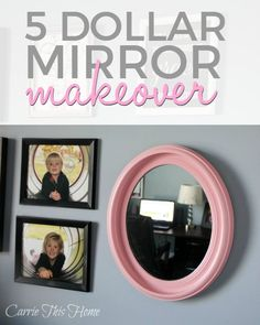 This once ugly mirror is now a pretty statement piece!  The next time you see a mirror or frame that looks like it's seen better days, have faith that you can make it into something beautiful! Five Dollar Mirror Makeover
