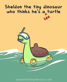 Sheldon the tiny dinosaur who thinks he's a sea turtle, water, snorkel, text; Sheldon the Tiny Dinosaur