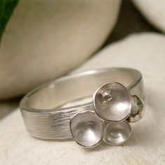 Sterling Silver Ring, Unique Organic Pod and Silver Seed Ring, Brushed Silver Ring Band, Artisan Ring, Nature Cluster Ring, Natural Jewelry