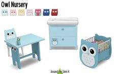 "Around the Sims 4 | Nursery Owl My Sims 3 needed a nursery that could be declined for multiple births (where each baby would have its own ""sign""), and that owl theme, though inspired from a real lunch box, suited to my plan. I remade it for Sims 4,..."