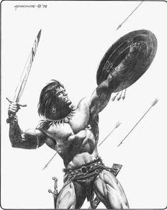 Fantastische Welten Fantastic Worlds Fantasy Heroes, Dark Fantasy Art, Fantasy Characters, Fantasy Sword, Fantasy Warrior, Conquistador, Conan The Barbarian Comic, Conan O Barbaro, Conan The Destroyer