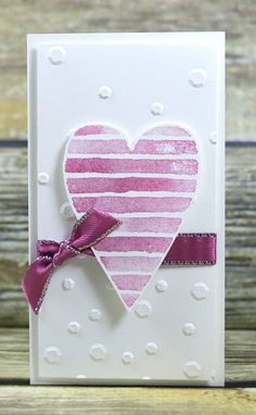 Simple heart with ribbon on dotted background Valentines Day Cards Handmade, Love Valentines, Scrapbooking, Making Greeting Cards, Heart Cards, Pretty Cards, Card Tags, Homemade Cards, Stampin Up Cards