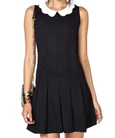 Color Block Pleated Peter Pan Collar Sleeveless Sweet Style Women's Dress, BLACK, L in Dresses 2014 | DressLily.com