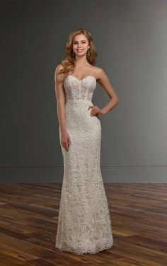 1028 Sheer Strapless Lace Wedding Dress By Martina Liana Elegant