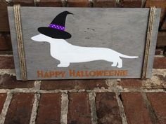 Happy Halloween Dachshund Home Decor-Happy Halloweenie-Dachshund Wall Decor by SteviLus on Etsy https://www.etsy.com/listing/247450217/happy-halloween-dachshund-home-decor