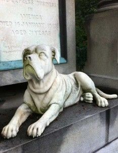 Harnden Dog: It's hard to miss the imposing English mastiff crouched at the base of the prominent tomb of William Frederick Harnden (1812-45)