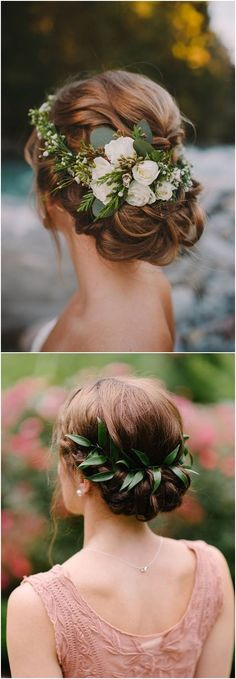 Greenery wedding hairstyle ideas / #wedding #weddingideas #weddinginspiration #deerpearlflowers http://www.deerpearlflowers.com/greenery-wedding-decor-ideas/