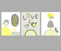 Girl Nursery Bird Nursery Love Gray and by SweetPeaNurseryArt, $41.00