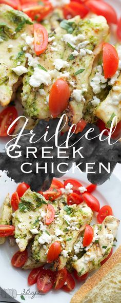 This Grilled Greek Chicken is seasoned and grilled to perfection and topped with fresh tomato and feta cheese!