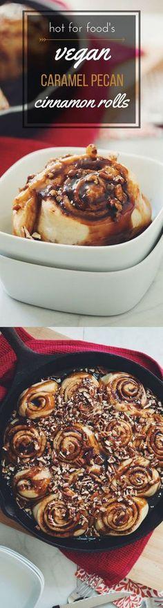 vegan caramel pecan cinnamon rolls | RECIPE on http://hotforfoodblog.com