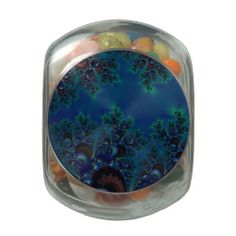 Midnight Blue Frost Crystals Fractal Glass Candy Jar...#jellybelly #jellybeans #fractals #forsale #jars #candy #food #gifts #partyfavors #weddingfavors