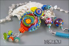 Crazy Chicken - Art Glass Necklace with sterling silver and swarovski crystals by Michou