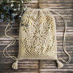 Crochet Drawstring Bag PATTERN - Lotus - Backpack, Market Net Lace, Grocery Shopping, Mesh - Retro, Boho Chic, Hippie, Festival - PDF