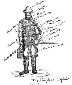 "Thomas Griffith ""Grif"" Taylor (1880 - 1963) was a British / Australian geographer, anthropologist and explorer. He was a survivor of Captain Robert Scott's Terra Nova Expedition to Antarctica (1910–1913). In this illustration dated 8 February 1911 depicts the typical clothing as used by 20th century Antarctic explorers. Find out more about early polar equipment: www.nls.uk/learning-zone/geography-and-exploration/scotts..."