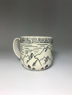 Mountain mug - Wheel thrown, hand painted and carved, porcelain mug - Handmade Pottery Mug Coffee Cup Mug - Functional Pottery