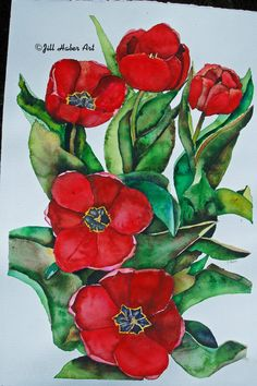 Tulip Painting Original  Watercolor Painting Red by JillHaberArt, $450.00