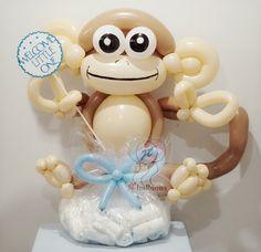Balloons #diapercake #monkey