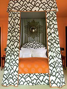 Bold Pattern on a Canopy Bed | F. Schumacher Zimba Fabric