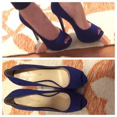 """Enzo Angiolini Tanen blue suede peep toe heels Gorgeous shoe, especially for a pop of color!  Pretty comfortable considering how tall it is due to the platform.  Worn less than 5x!  Runs slightly big(can fit up to 8.5 I'd say). Suede upper/synthetic lining and sole Heel height: 5"""" w/1.5"""" platform (comparable to a 3.5"""" heel). Enzo Angiolini Shoes Heels"""