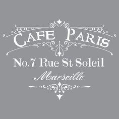 """12"""" x 12"""", Americana Decor-Stencils-Cafe Paris"""
