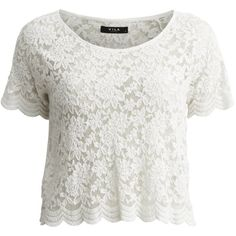 Vila Visanders - Lace - Short Sleeved Top (84 PLN) ❤ liked on Polyvore featuring tops, shirts, crop tops, t-shirts, pristine, short sleeve crop top, lace shirt, long-sleeve crop tops, white short sleeve top and short sleeve tops