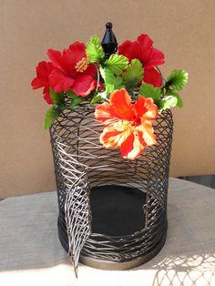 Wedding Birdcage Card Holder Hawaii Tropical Island Red Hibiscus Flowers Black Decoration Destination Reception Centerpiece Beach