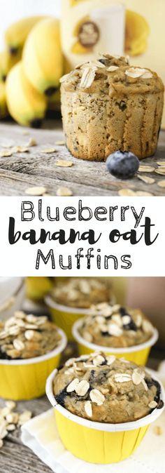 Blueberry Banana Oat Muffins, #Bananamazing @sir_bananas #collectiveBias, #ad, bananamilk, snack, breakfast, snack, muffins
