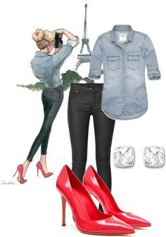Love this outfit: denim shirt, black jeans, red pumps, heels, shoes, and a perfect sleek top bun