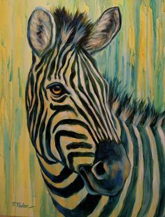 "African Wildlife Art ""Mare of Maasai Mara"" Zebra Painting by Theresa Paden 24 x Acrylic on thick gallery-wrapped canvas."