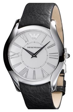 43mm Emporio Armani  Round Case Leather Strap Watch available at #Nordstrom $225