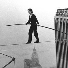 Philippe Petit, high-wire walk between New York City's Twin Tower - August 6, 1974