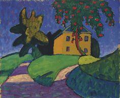 Gabriele Münter, Gelbes Haus mit Apfelbaum ( recto ); Landschaft ( verso )