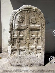~ Hittite stele with ETRUSCAN CROSSES and INANNA symbols. Hieroglyphic LUVIAN inscription in the bottom belonging to Tarhuvari, son of Tarhuzarma. C.1300BC Istanbul Archeology Museum.