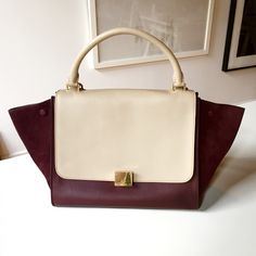Céline Medium Trapeze in Bicolour Calfskin and Suede - Burgundy and Taupe
