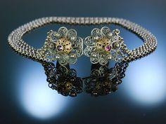 Antique Necklace! Siebenbürgen um 1900 Florschließe Kropfkette 5 reihig Silber Granat zu Tracht und Dirndl, traditioneller Trachtenschmuck bei Die Halsbandaffaire
