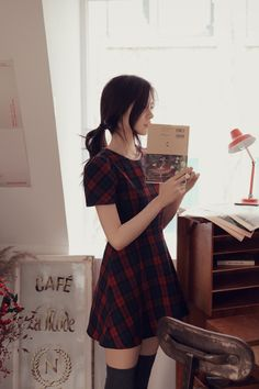 I adore these sleeves. I want this dress! milkcocoa | plaid dress tartan | Clara Oswald style