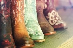 The beauty of great boots is in the detail and character of color variations. Real leather looks inconsistent and worn. The embroidery stitches are rich, like the inferno red on the dark tobacco boot in the front. Or the cream, not white, embroidery on the turquoise boot in the middle. These boots are full of drama from the cowgirl heel to the dramatic detailed shaft. Even the souls have soul. | Country Outfitter | http://www.countryoutfitter.com/corral