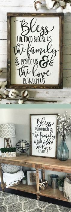 Love this rustic farmhouse wood sign for my dining room! Bless the food before us, the family beside us, and the love between us. #farmhouse #diningroom #woodsign #homedecor #ad