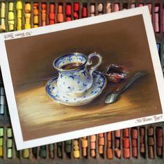 """Доброе утро, друзья! ☕️ Пусть эта неделя будет солнечной и плодотворной ~~~~~~~~~~~~~~~~~~~~~~~~~~~~~~~~~~ """"Morning coffee"""", pastel on sanded paper • Я уже рисовала эту кофейную пару в ч/б, но она ждала своего часа в цвете:) И акварель обязательно будет тоже"""