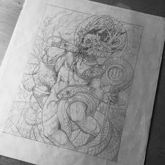 """Looking back at old sketches while organizing. """"Serpents Unleashed"""" 2013. 11"""" x 14."""" Pencil on paper. @skeletonwitch"""