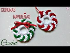 Crochet Projects Make this Mini Crochet Christmas Wreath and decorate your home. You need 15 min to finish this project. This tutorial includes instructions for all details Crochet Christmas Wreath, Crochet Wreath, Crochet Christmas Decorations, Crochet Decoration, Christmas Crochet Patterns, Xmas Wreaths, Crochet Flowers, Crochet Pig, Crochet Crown