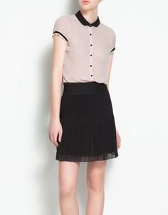 BLOUSE WITH CONTRASTING COLLAR - Shirts - Woman - ZARA Dominican Republic