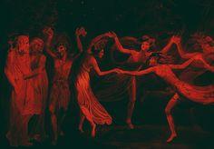 gorettmisstag: William Blake - Oberon, Titania and Puck with Fairies Dancing, 1786 (edited) Arte Obscura, Photo Portrait, William Blake, Arte Horror, Red Aesthetic, Picture Show, Dark Art, Art Inspo, Creepy