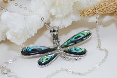 Abalone Dragonfly Pendant Necklace Sterling by ornatetreasures, $38.00