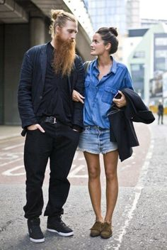In love with double denim- Lucy Chadwick and sexy bearded man! The Sartorialist, Couple Style, Style Me, Double Denim, Denim Fashion, Look Fashion, Street Fashion, Estilo Denim, Kooples
